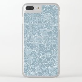 whorl pattern white blue Clear iPhone Case