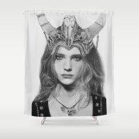headdress Shower Curtains featuring Natalia Vodianova Skull Headdress (Pencil Art) by Aeriz85