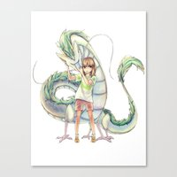 laputa Canvas Prints featuring Chihiro and Haku by CromMorc