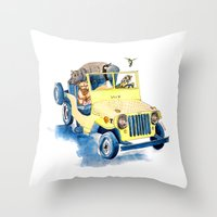 jeep Throw Pillows featuring Animal Jeep by Claire Sianna