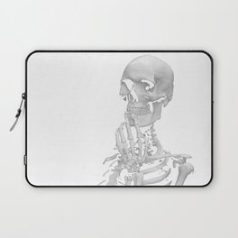 Thinking Skeleton (Black and White) Laptop Sleeve