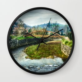 The river Sella and a bridge Wall Clock