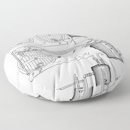 Brewery Patent - Beer Art - Black And White Floor Pillow