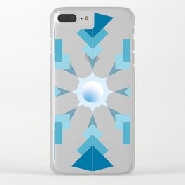 Blue triangles minimalist Mandala - abstract geometric graphic design - Project 2 Clear iPhone Case