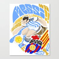 messi Canvas Prints featuring Messi by Simon Estrada