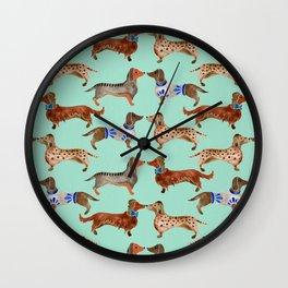 Dachshunds on Blue Wall Clock