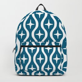 Mid century Modern Bulbous Star Pattern Peacock Blue Backpack