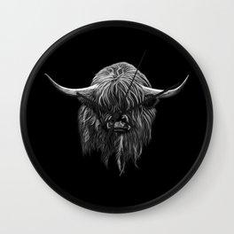 Scottish Highland Cow (bw) Wall Clock