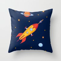 spaceship Throw Pillows featuring Spaceship! by Doodle Dojo