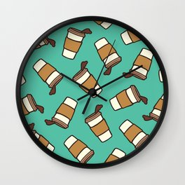 Take it Away Coffee Pattern Wall Clock