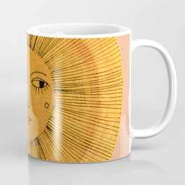 Sun Drawing Gold and Pink Coffee Mug