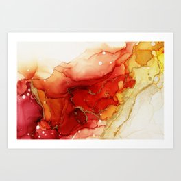 Golden Flames Abstract Ink - Part 2 Art Print