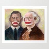 Obama and George Washington as Sock Monkeys Art Print