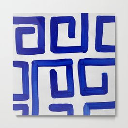 Greek Blue Design Metal Print