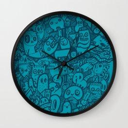 Blue Doodle Wall Clock