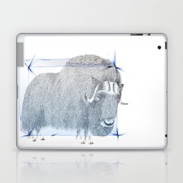 Muskox Ice Age pointillism and pencil crayons drawing Laptop & iPad Skin