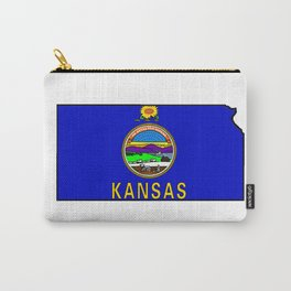 Kansas Map with Kansas State Flag Carry-All Pouch