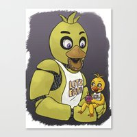 fnaf Canvas Prints featuring FNAF Chicas by msaibee