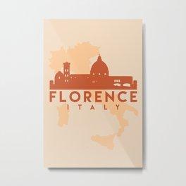 FLORENCE ITALY CITY MAP SKYLINE EARTH TONES Metal Print