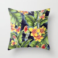kindle Throw Pillows featuring Tiki Talk by Vikki Salmela