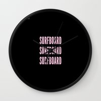 surfboard Wall Clocks featuring SURFBOARD  by Adel