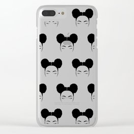 mini afro puffs girl Clear iPhone Case