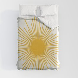 Mustard Yellow Retro Sun on  Nearly White Duvet Cover