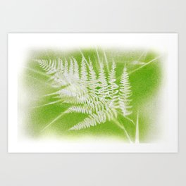 Airbrushed bracken frond and grasses Art Print