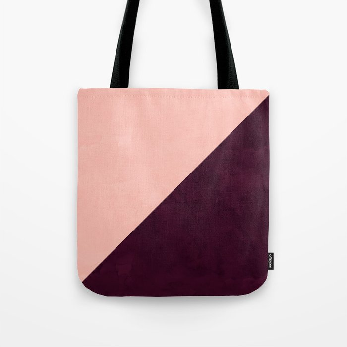 Modern blush pink burgundy watercolor color block geometric Tote Bag