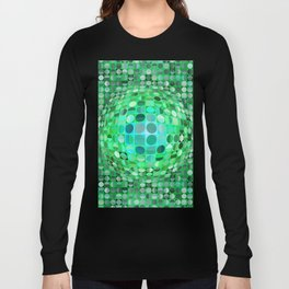 Optical Illusion Sphere - Green Long Sleeve T-shirt