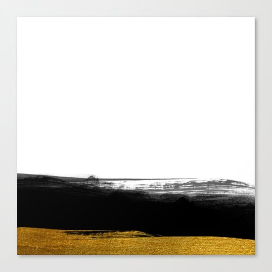 Black and Gold grunge stripes on clear white backround - Stripe- Striped Canvas Print