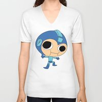 megaman V-neck T-shirts featuring Silly Megaman by oshio