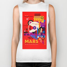 NASA Mars The Red Planet Retro Poster Futuristic Best Quality Biker Tank
