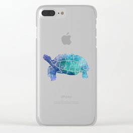 Sulcata Tortoise Silhouette (sparkles) Clear iPhone Case