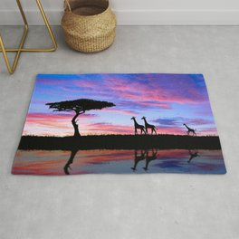 Lonely Tree And Giraffes Silhouette In African Savannah At Sunset Ultra HD Rug