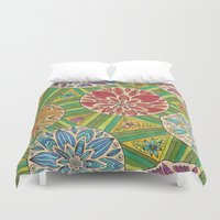 green pattern Duvet Covers featuring Green pattern by Lisidza's art