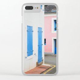 25. Pink and Blue House, Bretagne, France Clear iPhone Case