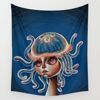 surrealism Wall Tapestries featuring Jellyfish Head pop Surrealism Illustration by Kristin Frenzel