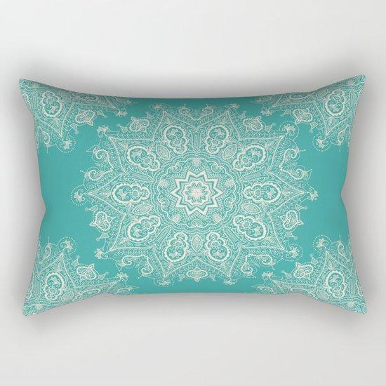 Teal and Lace Mandala Rectangular Pillow