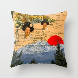 THE TWO MADONNAS AND THE RED CIRCLE II Throw Pillow