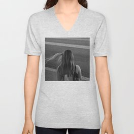 Wind in hair  Black and white Street photography Unisex V-Neck