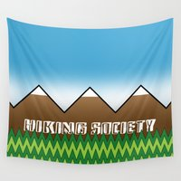 hiking Wall Tapestries featuring Hiking Society by klausbalzano
