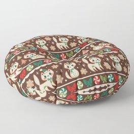 Striped Gingerbread Kitties (Brown) Floor Pillow