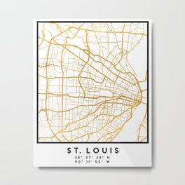 ST. LOUIS MISSOURI CITY STREET MAP ART Metal Print