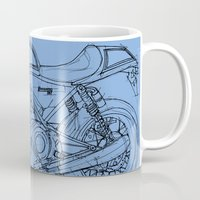 cafe racer Mugs featuring Motorcycle Norton Commando Cafe Racer by Larsson Stevensem