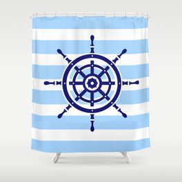 AFE Nautical Helm Wheel Shower Curtain