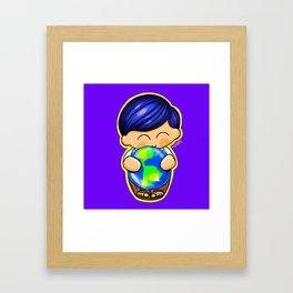 Chapin Kokeshi Boy Blue Framed Art Print