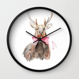 Deer with a bow Wall Clock