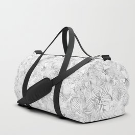Hand painted black white watercolor tribal floral Duffle Bag