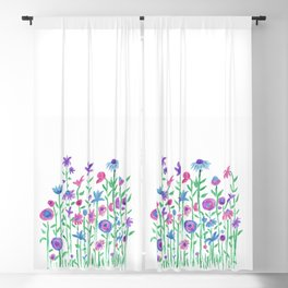 Cheerful spring flowers watercolor Blackout Curtain